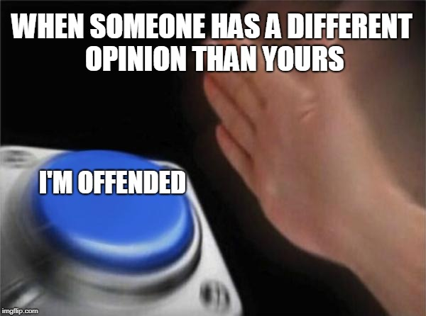 Blank Nut Button Meme | WHEN SOMEONE HAS A DIFFERENT OPINION THAN YOURS I'M OFFENDED | image tagged in memes,blank nut button | made w/ Imgflip meme maker