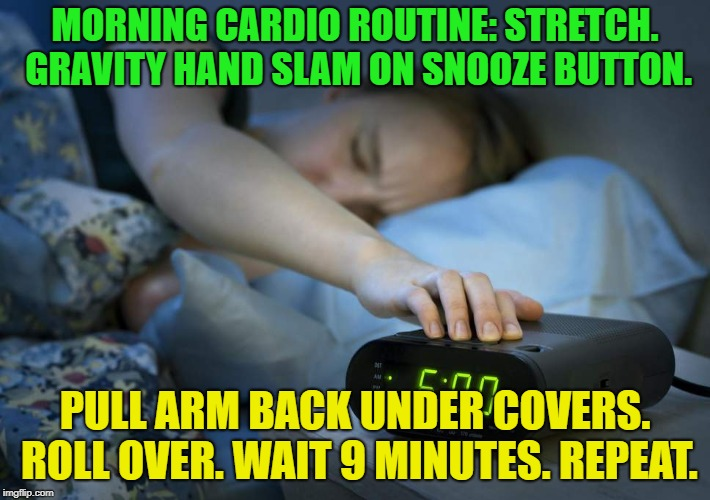 every morning............. | MORNING CARDIO ROUTINE: STRETCH. GRAVITY HAND SLAM ON SNOOZE BUTTON. PULL ARM BACK UNDER COVERS. ROLL OVER. WAIT 9 MINUTES. REPEAT. | image tagged in memes,funny,sleep,i love bacon,gravity | made w/ Imgflip meme maker