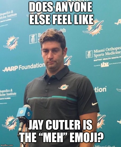 "Jay Cutler Dolphins | DOES ANYONE ELSE FEEL LIKE JAY CUTLER IS THE ""MEH"" EMOJI? 