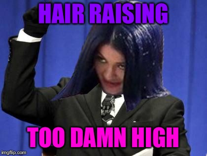 Too Damn High Mima | HAIR RAISING TOO DAMN HIGH | image tagged in too damn high mima | made w/ Imgflip meme maker