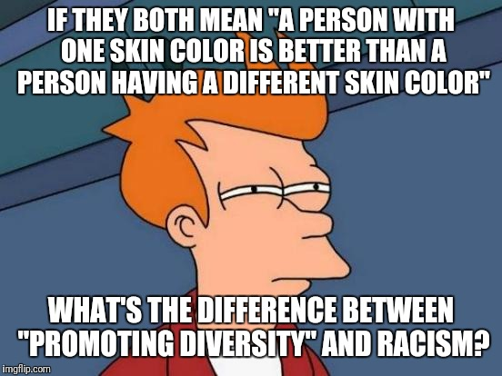 "What's the difference? | IF THEY BOTH MEAN ""A PERSON WITH ONE SKIN COLOR IS BETTER THAN A PERSON HAVING A DIFFERENT SKIN COLOR"" WHAT'S THE DIFFERENCE BETWEEN ""PROMOT 