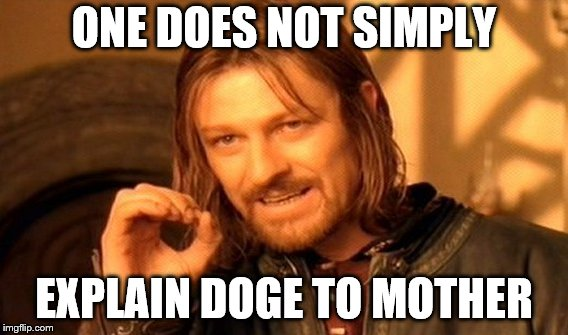 One Does Not Simply Meme | ONE DOES NOT SIMPLY EXPLAIN DOGE TO MOTHER | image tagged in memes,one does not simply | made w/ Imgflip meme maker