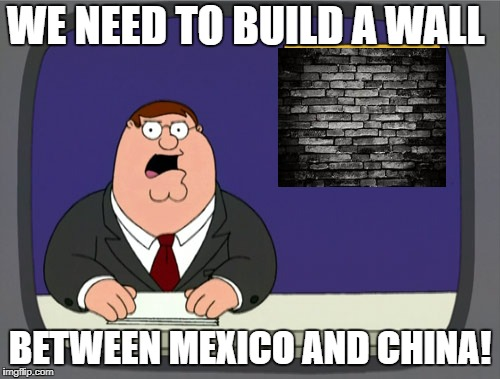 Peter Griffin News Meme | WE NEED TO BUILD A WALL BETWEEN MEXICO AND CHINA! | image tagged in memes,peter griffin news | made w/ Imgflip meme maker