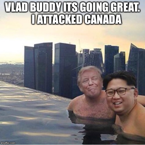 VLAD BUDDY ITS GOING GREAT.    I ATTACKED CANADA | image tagged in trump kim jon ul singapore | made w/ Imgflip meme maker