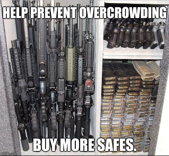 HELP PREVENT OVERCROWDING BUY MORE SAFES. | image tagged in guns | made w/ Imgflip meme maker