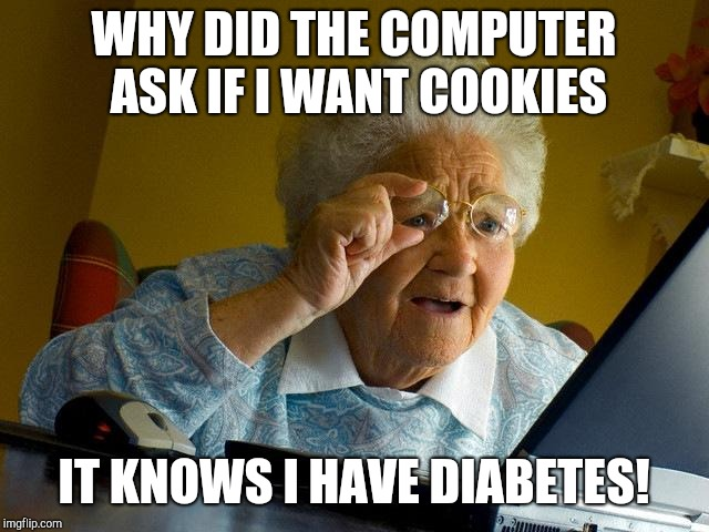 Grandma Finds The Internet Meme | WHY DID THE COMPUTER ASK IF I WANT COOKIES IT KNOWS I HAVE DIABETES! | image tagged in memes,grandma finds the internet | made w/ Imgflip meme maker