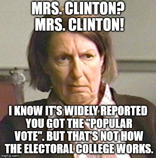 "MRS. CLINTON? MRS. CLINTON! I KNOW IT'S WIDELY REPORTED YOU GOT THE ""POPULAR VOTE"". BUT THAT'S NOT HOW THE ELECTORAL COLLEGE WORKS. 
