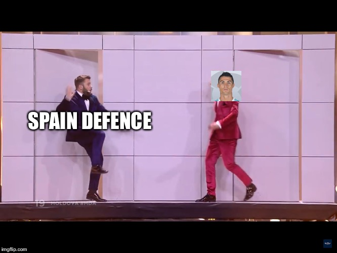 World Cup  |  SPAIN DEFENCE | image tagged in doredos,cristiano ronaldo,world cup,spain | made w/ Imgflip meme maker
