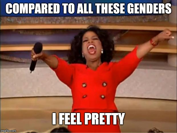 Oprah You Get A Meme | COMPARED TO ALL THESE GENDERS I FEEL PRETTY | image tagged in memes,oprah you get a | made w/ Imgflip meme maker