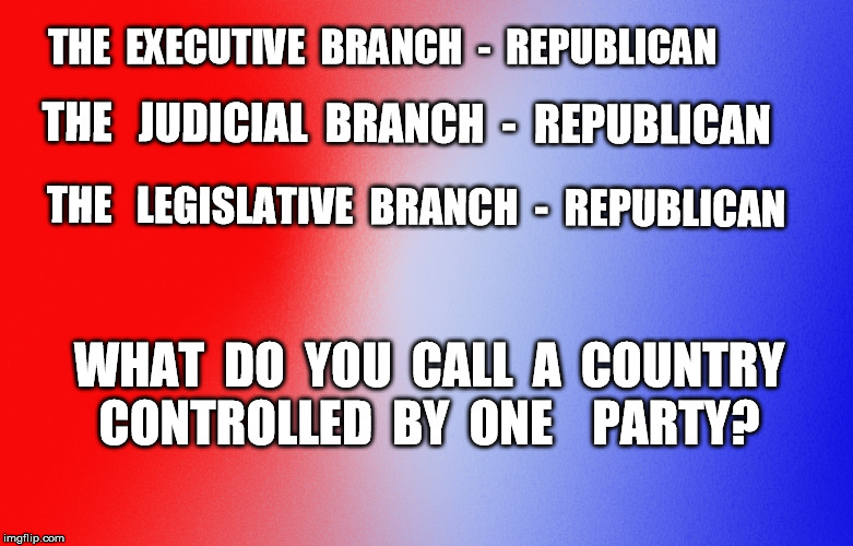 THE  EXECUTIVE  BRANCH  -  REPUBLICAN WHAT  DO  YOU  CALL  A  COUNTRY CONTROLLED  BY  ONE    PARTY? THE   JUDICIAL  BRANCH  -  REPUBLICAN TH | image tagged in republican,one party rule,judicial branch,legislative branch,executive branch | made w/ Imgflip meme maker