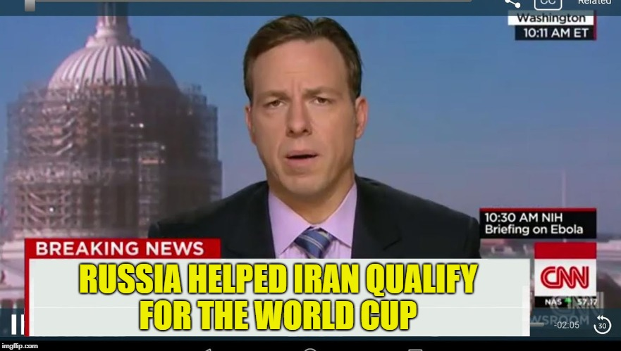 cnn breaking news template |  RUSSIA HELPED IRAN QUALIFY FOR THE WORLD CUP | image tagged in cnn breaking news template | made w/ Imgflip meme maker
