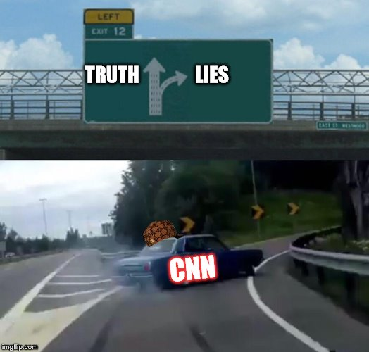 Left Exit 12 Off Ramp Meme | TRUTH               LIES CNN | image tagged in memes,left exit 12 off ramp,scumbag | made w/ Imgflip meme maker