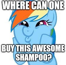 Rainbow Dash so awesome | WHERE CAN ONE BUY THIS AWESOME SHAMPOO? | image tagged in rainbow dash so awesome | made w/ Imgflip meme maker