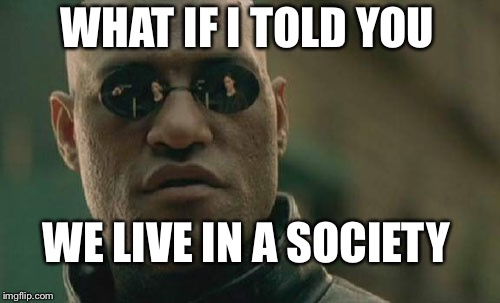 Gamers rise up | WHAT IF I TOLD YOU WE LIVE IN A SOCIETY | image tagged in memes,matrix morpheus | made w/ Imgflip meme maker