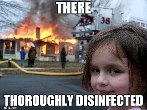 Disaster Girl Meme | THERE THOROUGHLY DISINFECTED | image tagged in memes,disaster girl | made w/ Imgflip meme maker