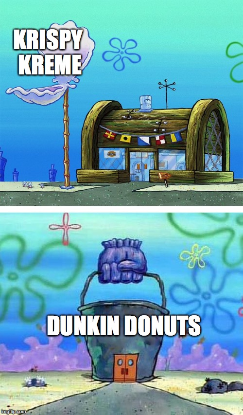 Krusty Krab Vs Chum Bucket Blank | KRISPY KREME DUNKIN DONUTS | image tagged in krusty crab vs chum bucket | made w/ Imgflip meme maker