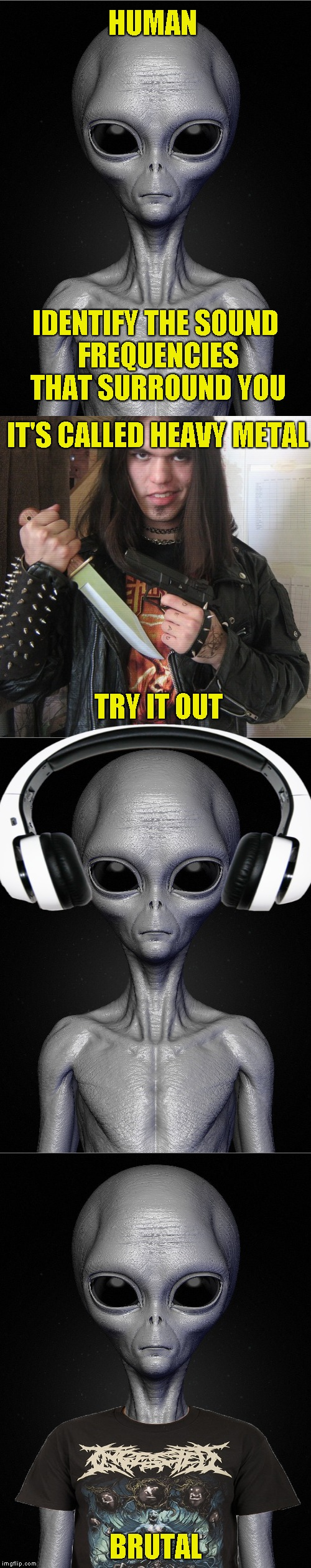 I bet that aliens love listening to Black Sabbath in their mothership. Aliens week, an Aliens and clinkster event. 6/12 - 6/19 | HUMAN BRUTAL IDENTIFY THE SOUND FREQUENCIES THAT SURROUND YOU IT'S CALLED HEAVY METAL TRY IT OUT | image tagged in memes,aliens week,powermetalhead,heavy metal,brutal,funny | made w/ Imgflip meme maker