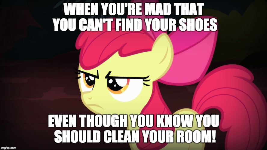 I'm a mess! | WHEN YOU'RE MAD THAT YOU CAN'T FIND YOUR SHOES EVEN THOUGH YOU KNOW YOU SHOULD CLEAN YOUR ROOM! | image tagged in angry applebloom,memes,shoes,messy,clean up,xanderbrony | made w/ Imgflip meme maker