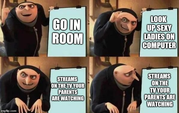 Imagin if that happened | GO IN ROOM LOOK UP SEXY LADIES ON COMPUTER STREAMS ON THE TV YOUR PARENTS ARE WATCHING STREAMS ON THE TV YOUR PARENTS ARE WATCHING | image tagged in gru's plan,memes,sexy,shit | made w/ Imgflip meme maker