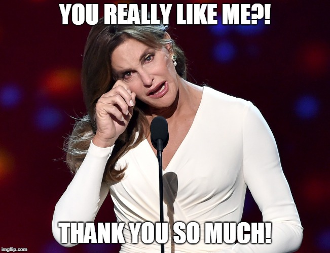 bruce jenner problems | YOU REALLY LIKE ME?! THANK YOU SO MUCH! | image tagged in bruce jenner problems | made w/ Imgflip meme maker