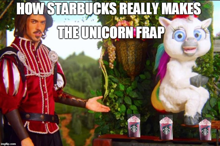 Unicorn Fraps secret recipe  | HOW STARBUCKS REALLY MAKES THE UNICORN FRAP | image tagged in starbucks,unicorn frap,unicorns,frappuccino,recipe,memes | made w/ Imgflip meme maker
