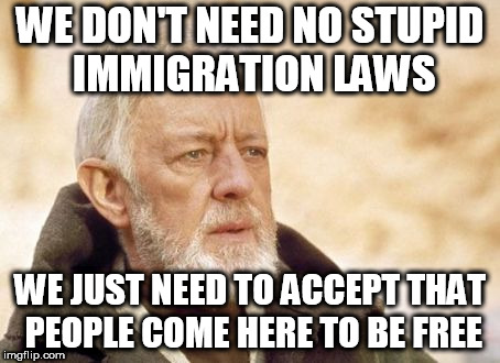 Obi Wan Kenobi | WE DON'T NEED NO STUPID IMMIGRATION LAWS WE JUST NEED TO ACCEPT THAT PEOPLE COME HERE TO BE FREE | image tagged in memes,obi wan kenobi,immigrant,immigrants,immigration,immigration laws | made w/ Imgflip meme maker