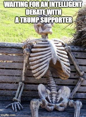 Political debates?  | WAITING FOR AN INTELLIGENT DEBATE WITH A TRUMP SUPPORTER | image tagged in memes,waiting skeleton,political | made w/ Imgflip meme maker