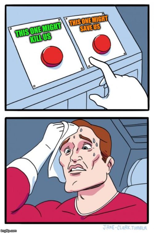 Two Buttons Meme | THIS ONE MIGHT KILL US THIS ONE MIGHT SAVE US | image tagged in memes,two buttons | made w/ Imgflip meme maker