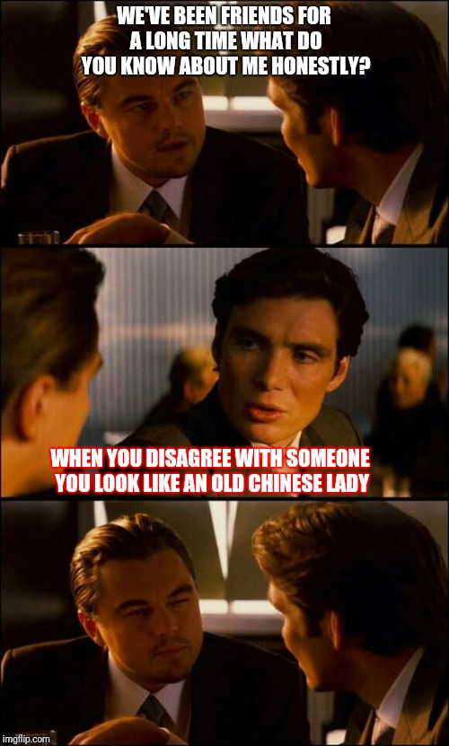 Yeah?...you ashame your family!  | WE'VE BEEN FRIENDS FOR A LONG TIME WHAT DO YOU KNOW ABOUT ME HONESTLY? WHEN YOU DISAGREE WITH SOMEONE YOU LOOK LIKE AN OLD CHINESE LADY | image tagged in di caprio inception | made w/ Imgflip meme maker
