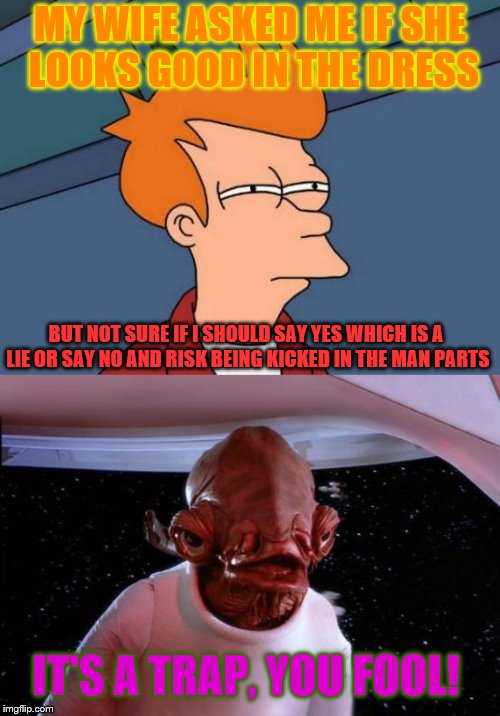 MY WIFE ASKED ME IF SHE LOOKS GOOD IN THE DRESS BUT NOT SURE IF I SHOULD SAY YES WHICH IS A LIE OR SAY NO AND RISK BEING KICKED IN THE MAN P | image tagged in memes,futurama fry,it's a trap | made w/ Imgflip meme maker