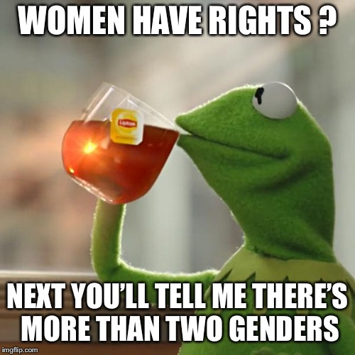 But Thats None Of My Business Meme | WOMEN HAVE RIGHTS ? NEXT YOU'LL TELL ME THERE'S MORE THAN TWO GENDERS | image tagged in memes,but thats none of my business,kermit the frog | made w/ Imgflip meme maker