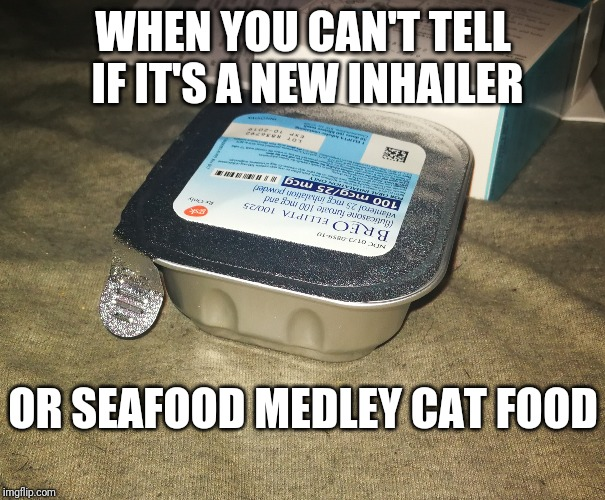 Inhail the Kitty Chow | WHEN YOU CAN'T TELL IF IT'S A NEW INHAILER OR SEAFOOD MEDLEY CAT FOOD | image tagged in funny,medicine,medical,weird,pharmacy | made w/ Imgflip meme maker