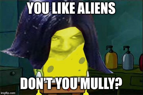 Spongemima | YOU LIKE ALIENS DON'T YOU MULLY? | image tagged in spongemima | made w/ Imgflip meme maker