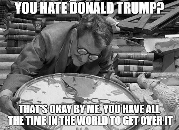 YOU HATE DONALD TRUMP? THAT'S OKAY BY ME. YOU HAVE ALL THE TIME IN THE WORLD TO GET OVER IT | image tagged in twilight zone,rod serling twilight zone,all the time in the world,donald trump | made w/ Imgflip meme maker