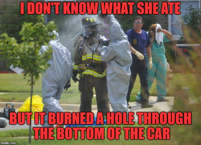 I DON'T KNOW WHAT SHE ATE BUT IT BURNED A HOLE THROUGH THE BOTTOM OF THE CAR | made w/ Imgflip meme maker