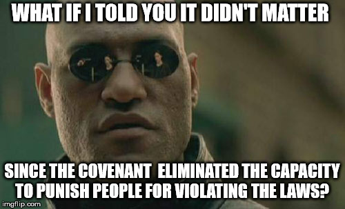 Matrix Morpheus Meme | WHAT IF I TOLD YOU IT DIDN'T MATTER SINCE THE COVENANT  ELIMINATED THE CAPACITY TO PUNISH PEOPLE FOR VIOLATING THE LAWS? | image tagged in memes,matrix morpheus | made w/ Imgflip meme maker