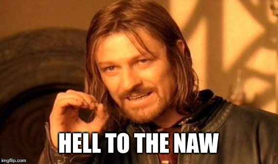 One Does Not Simply Meme | HELL TO THE NAW | image tagged in memes,one does not simply | made w/ Imgflip meme maker