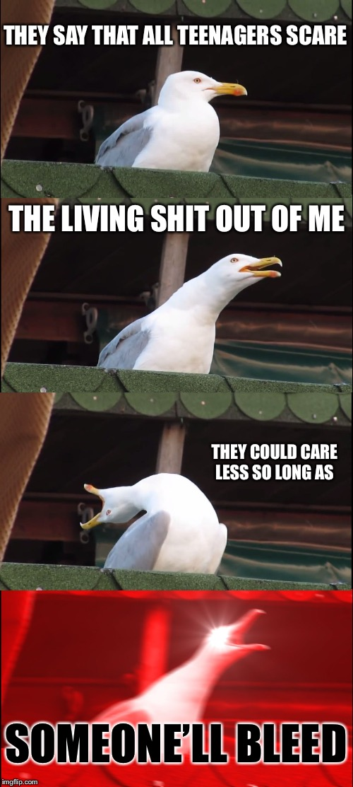 Chemical Gullmance | THEY SAY THAT ALL TEENAGERS SCARE THE LIVING SHIT OUT OF ME THEY COULD CARE LESS SO LONG AS SOMEONE'LL BLEED | image tagged in memes,inhaling seagull | made w/ Imgflip meme maker