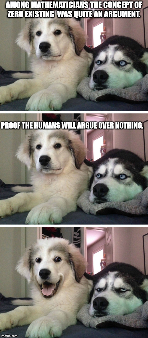 Bad pun dogs | AMONG MATHEMATICIANS THE CONCEPT OF ZERO EXISTING  WAS QUITE AN ARGUMENT. PROOF THE HUMANS WILL ARGUE OVER NOTHING. | image tagged in bad pun dogs | made w/ Imgflip meme maker
