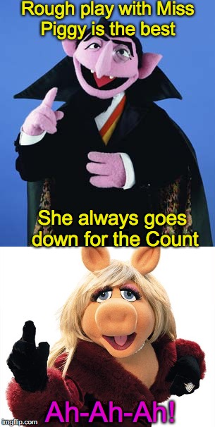 Rough play with Miss Piggy is the best She always goes down for the Count Ah-Ah-Ah! | image tagged in muppets,the count,miss piggy,bad pun | made w/ Imgflip meme maker