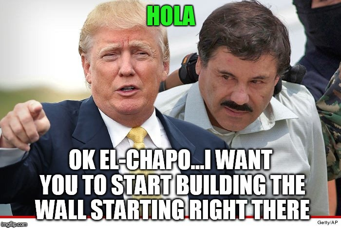 Wall is going up | HOLA | image tagged in donald trump | made w/ Imgflip meme maker