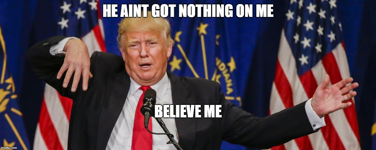 Trump limp | HE AINT GOT NOTHING ON ME BELIEVE ME | image tagged in trump limp | made w/ Imgflip meme maker