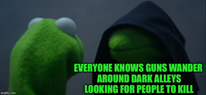 Evil Kermit Meme | EVERYONE KNOWS GUNS WANDER AROUND DARK ALLEYS LOOKING FOR PEOPLE TO KILL | image tagged in memes,evil kermit | made w/ Imgflip meme maker