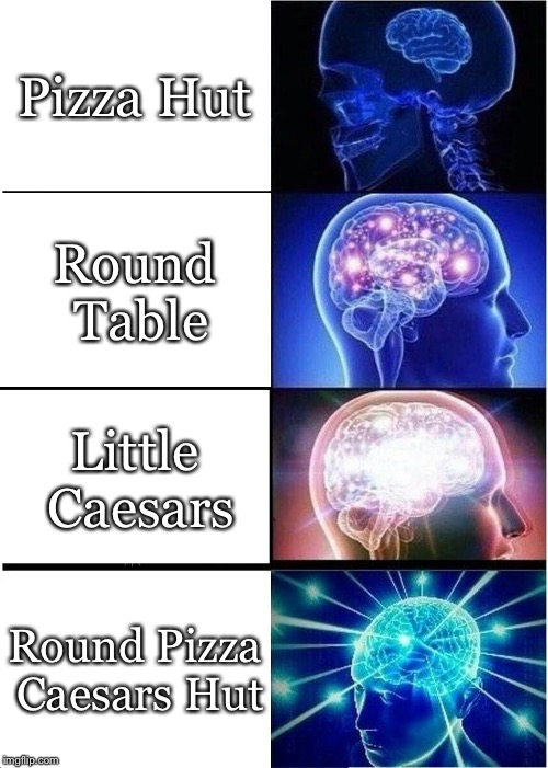 Expanding Brain Meme | Pizza Hut Round Table Little Caesars Round Pizza Caesars Hut | image tagged in memes,expanding brain | made w/ Imgflip meme maker