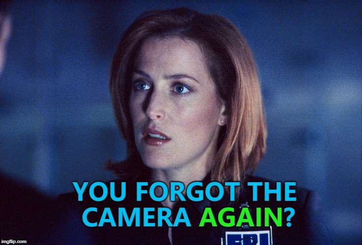Scully is not impressed with Mulder's organisational skills... :) | YOU FORGOT THE CAMERA AGAIN? AGAIN | image tagged in scully,memes,x files,aliens week,tv | made w/ Imgflip meme maker