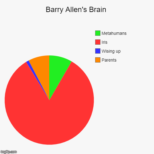 Barry's Brain | Barry Allen's Brain | Parents, Wising up, Iris, Metahumans | image tagged in funny,pie charts,the flash,barry allen | made w/ Imgflip chart maker