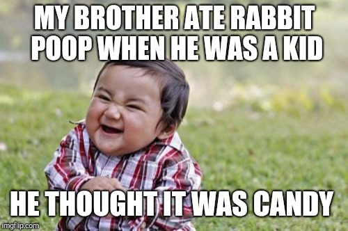 Evil Toddler Meme | MY BROTHER ATE RABBIT POOP WHEN HE WAS A KID HE THOUGHT IT WAS CANDY | image tagged in memes,evil toddler | made w/ Imgflip meme maker