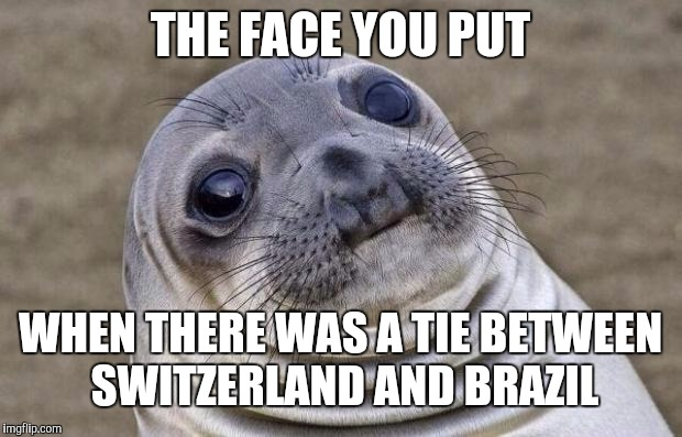 Awkward Moment Sealion Meme | THE FACE YOU PUT WHEN THERE WAS A TIE BETWEEN SWITZERLAND AND BRAZIL | image tagged in memes,awkward moment sealion | made w/ Imgflip meme maker