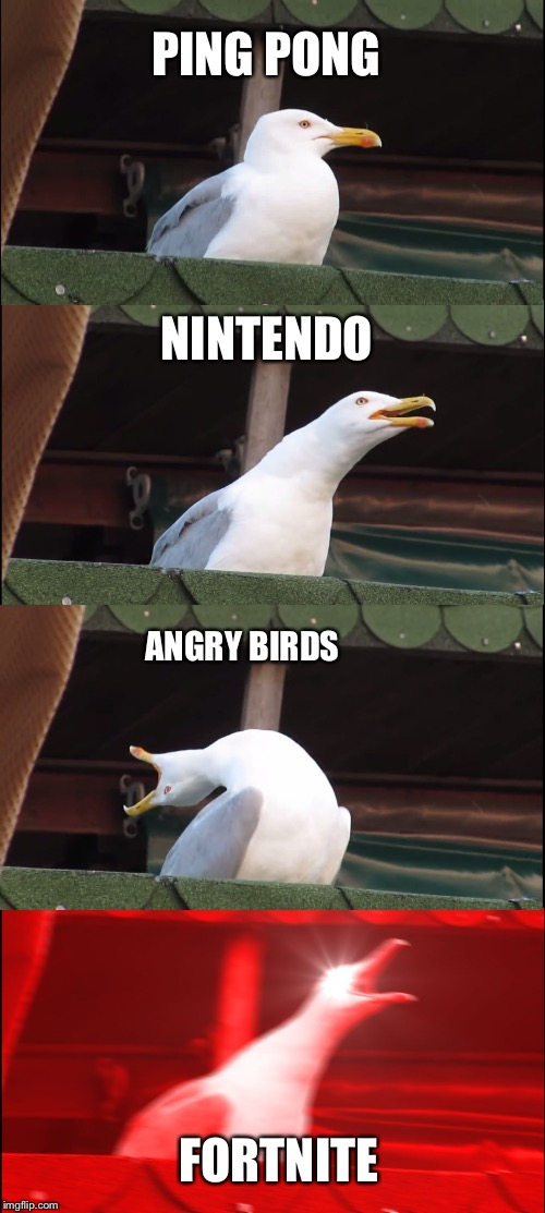 Inhaling Seagull Meme | PING PONG NINTENDO ANGRY BIRDS FORTNITE | image tagged in memes,inhaling seagull | made w/ Imgflip meme maker