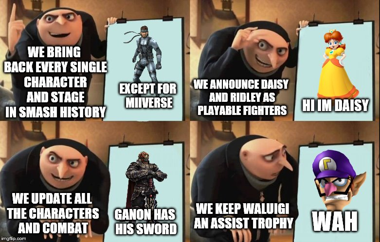 The most offensive plan ever | WE BRING BACK EVERY SINGLE CHARACTER AND STAGE IN SMASH HISTORY WE ANNOUNCE DAISY AND RIDLEY AS PLAYABLE FIGHTERS EXCEPT FOR MIIVERSE HI IM  | image tagged in despicable me diabolical plan gru template,memes,waluigi,smash bros,nintendo,video games | made w/ Imgflip meme maker